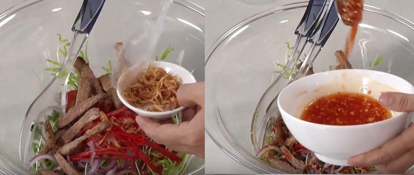 Trộn Gỏi Bắp Bò Rau Mầm