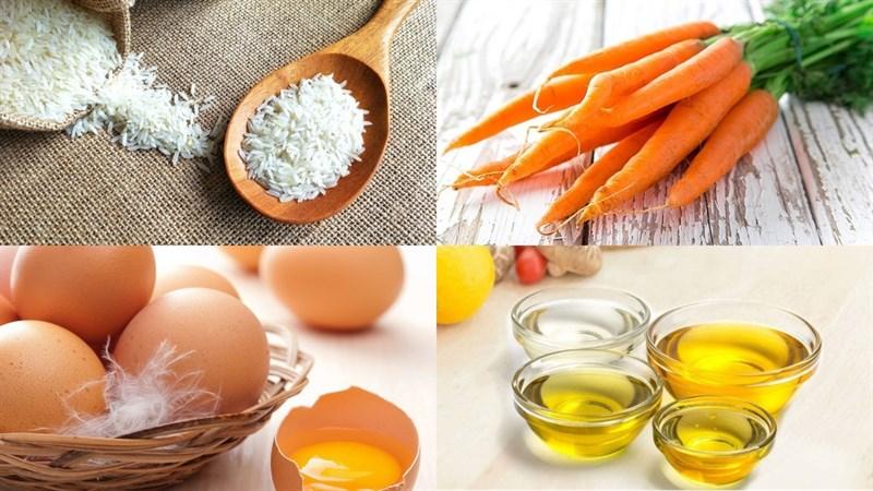 Nguyên Liệu Món Cháo Trứng Gà Cà Rốt