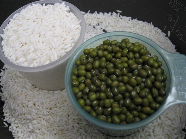 nguyên liệu cho món xôi đậu xanh nguyên vỏ