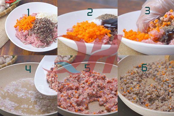 cách làm nhân xôi thịt gà